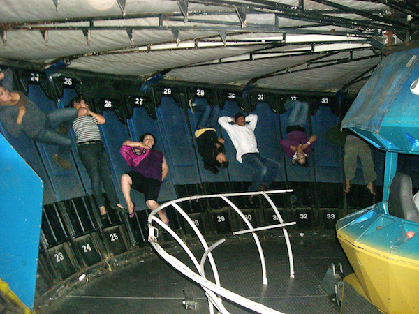 This is the interior of the POS Gravitron. The floor drops 12 inches and the wall is on an incline. Even worse than the Round Up.